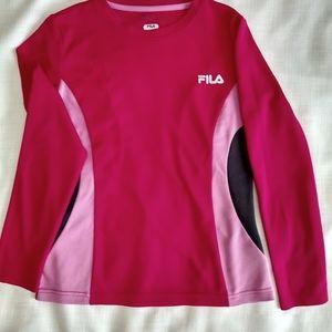 FILA SPORT Live In Motion Workout Shirt Girls Sz L Pink Long Sleeve